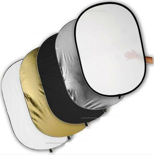 40inch 100cm Extra Large ovale 5 en 1 kit de panneau réflecteur avec noir, blanc, Sil