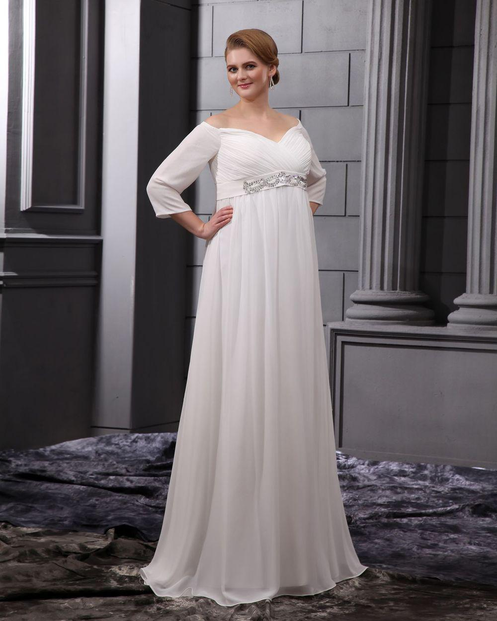 Discount 2013 Wedding Dresses Long Sleeves Chiffon Beads V