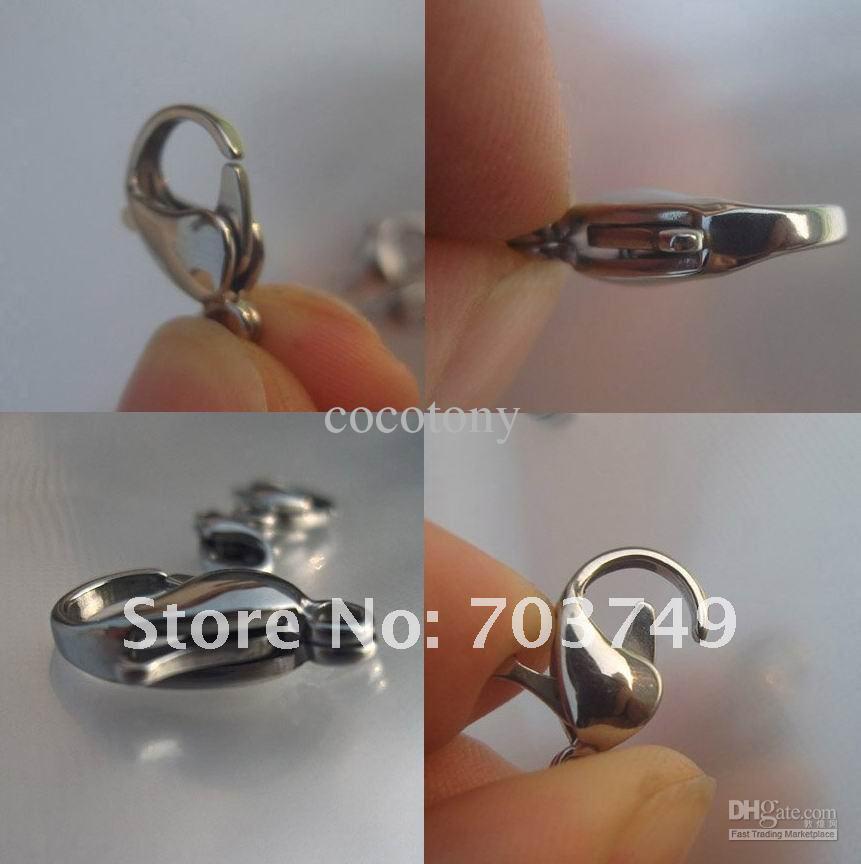 Roestvrijstalen karabijnhaak Goede kwaliteit Mode-sieraden accessoire-onderdelen # 12 12 mm SP024