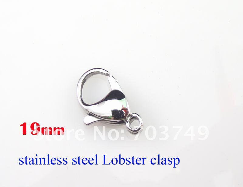 Roestvrijstalen kreeft sluiting haken goede kwaliteit mode-sieraden accessoires onderdelen # 19 19 mm 100 stks