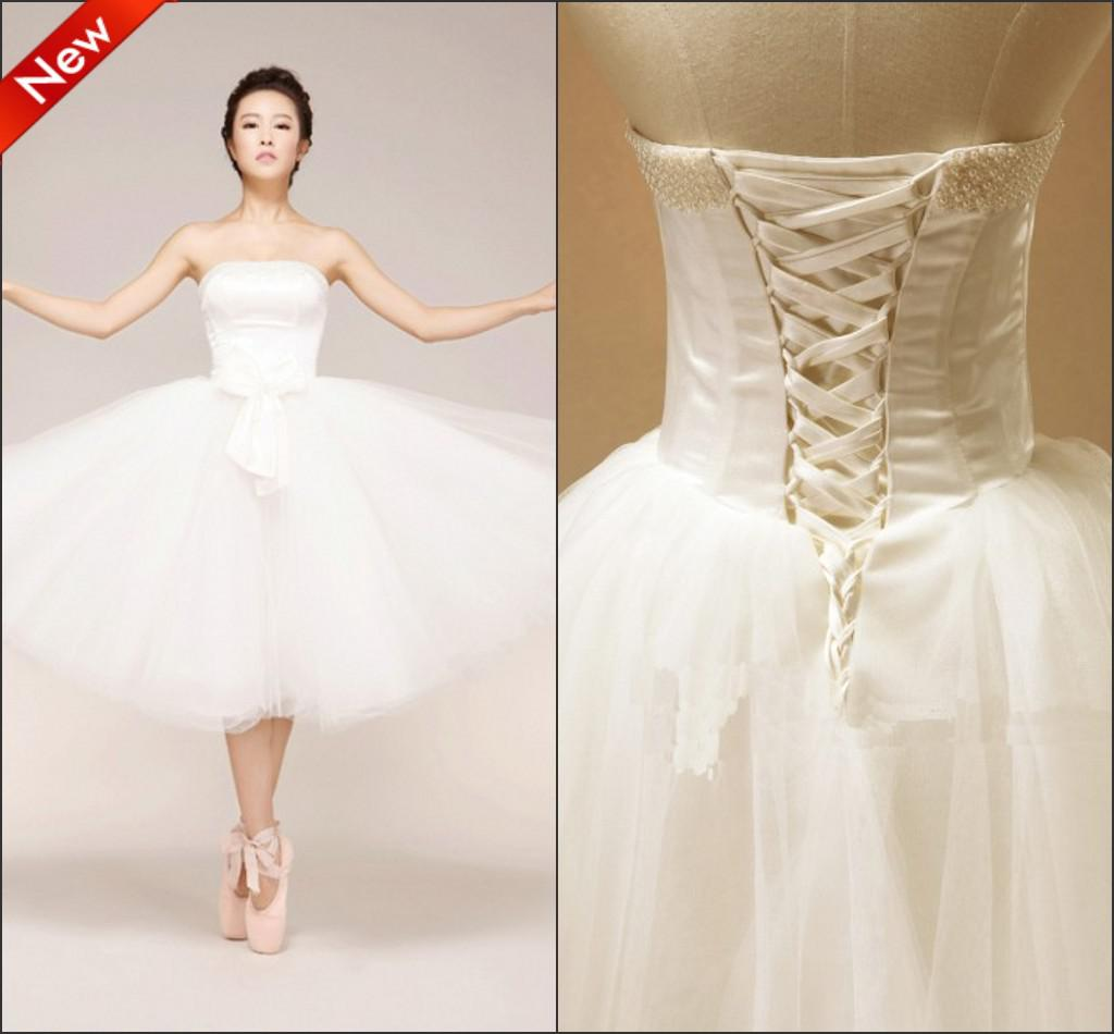Custom Made Tulle Short Beach Wedding Dresses Ball Gown Bow Elegant