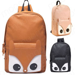 Wholesale Bead Books - Girl Fox Pattern Faux Leather Book Backpack Travel Schoolbag Knapsack Bags B393