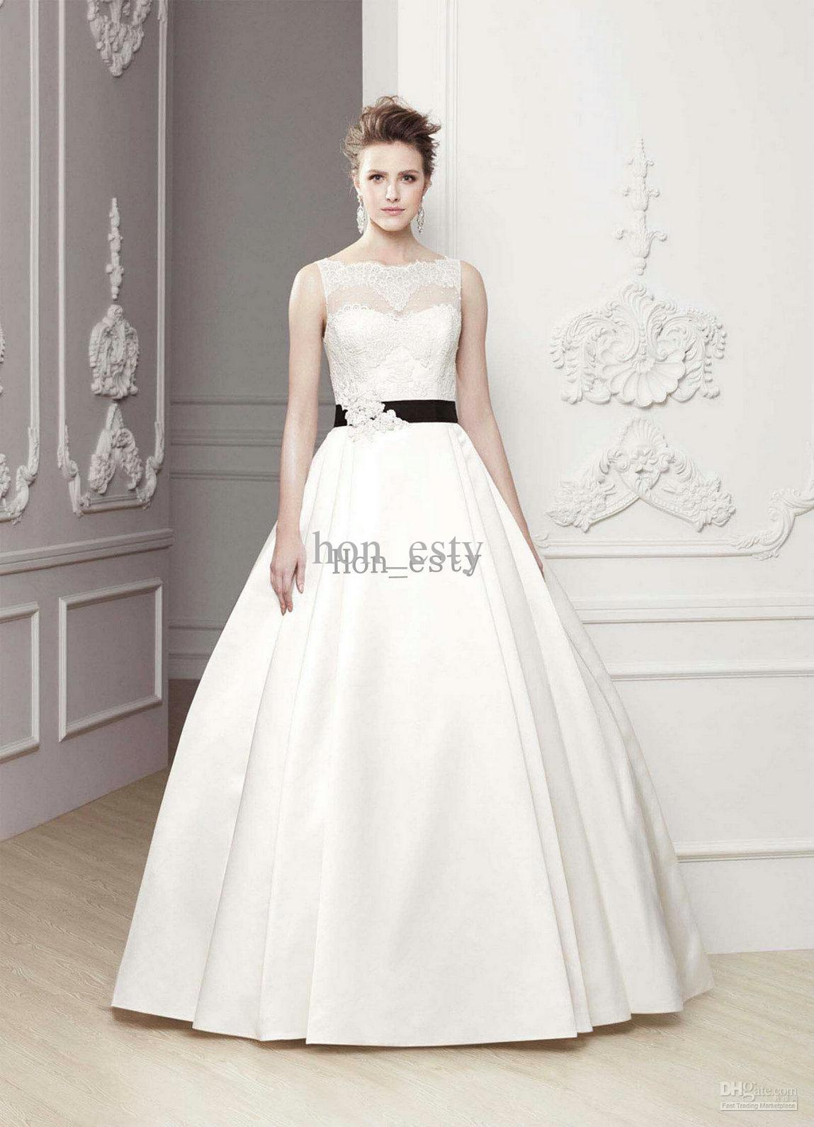 Lovely wedding dresses satin bateau neck lace beaded appliques see larger image ombrellifo Image collections
