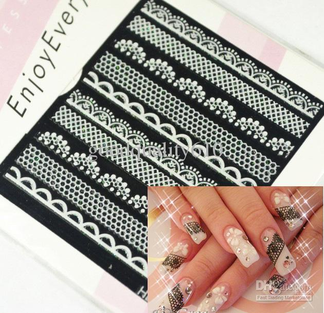 6 Sheets 3d Lace Design Nail Art Sticker Applique Decal Various