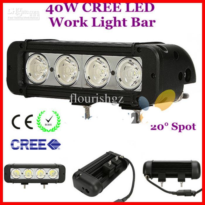 "8"" 40W CREE LED Work Light Bar 4-LED10W Off-Road SUV ATV 4WD 4x4 Jeep Spot Flood Beam 3440lm IP67 Driving Truck Lamp Super Bright DHL"
