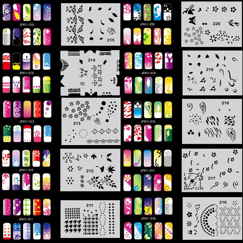 Beautiful Design Airbrush Nail Art Paint Stencil Kit Set Mj 009 Stamping Plates Tips From Qinmilly 2865