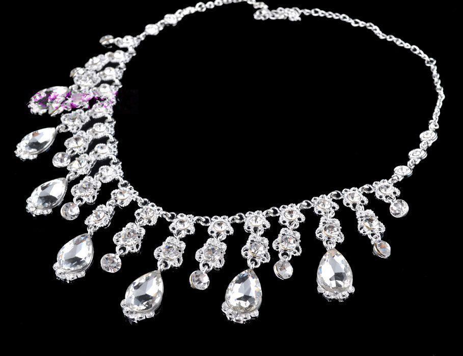 2015 Nuevas llegadas Crystal Crown Necklace Earring Set joyería nupcial accesorios de la boda