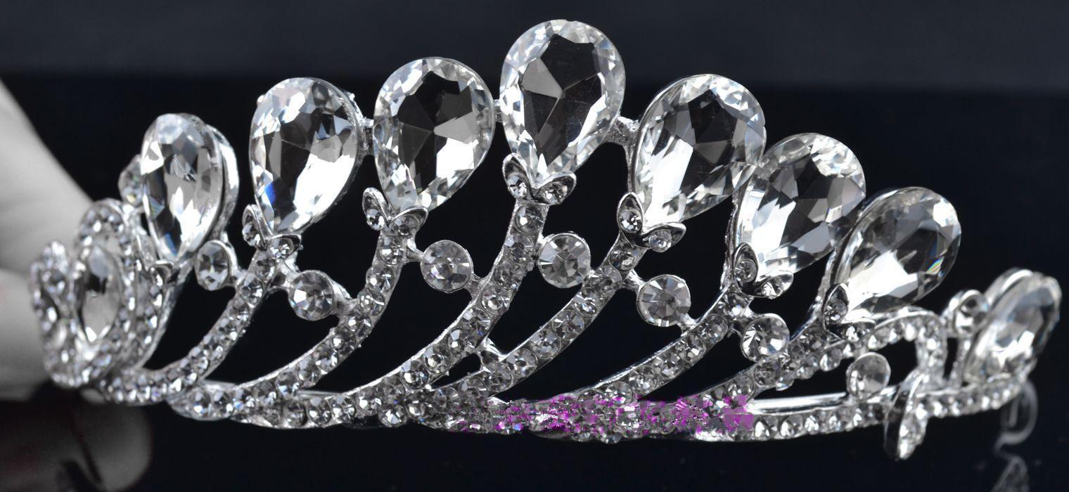 2015 nieuwe aankomsten Crystal Crown ketting oorbel set bruids sieraden bruiloft accessoires
