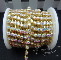 Wholesale Rhinestone Chain Cups - MIC Hot sell SS16 3.9mm AB Rhinestone Cup Chain Golden 10 Yard Jewelry DIY 13022138