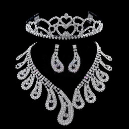 Wholesale Three Crowns Earrings - Stock Free Shipping Noble Romantic Three Pieces Necklace Crown Tiara Earrings Wedding Bridal Sets