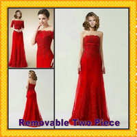 Wholesale Short Sleeves Lace Bolero Jacket - 2016 Two Piece Detachable Off-Shoulder Short Sleeves Lace Bolero Jacket Tulle Red Evening Dresses Women Formal Gowns Tulle Lace Appliques