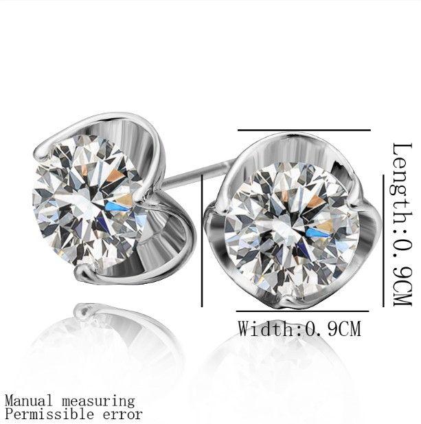 Prix usine Top qualité plaqué 18K platine incrusté zircon boucles d'oreille bijoux de mode /