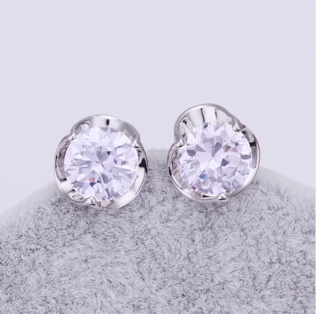 Fabrikspris Toppkvalitet Pläterad 18k Platinum Inlägg Zircon Stud Örhängen Mode Smycken /