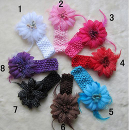 Wholesale Baby Feather Headbands Wholesale - Kids Flower Feather Baby Hairbands Girls Feather Headband Infant Knitting Hair Weave Accessiries