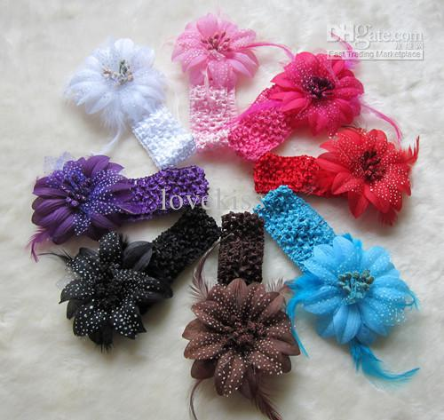 キッズフラワーフェザーベビーバンド女の子羽毛ヘッドバンド幼児ニットヘア織り