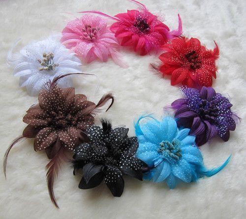 Barn blomma fjäder baby hårband flickor fjäder huvudband spädbarn stickning hår vävtillträde