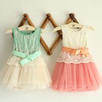 yeni dantel kızları yaz toptan satış-Yeni Kızlar Işlemeli Dantel Gazlı Bez Yay Yelek Elbise Elbiseler Kız Gelinlik Modelleri Yaz Prenses Elbise
