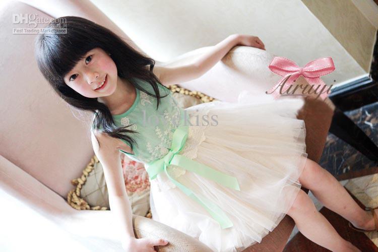 New Girls Embroidered Lace Gauze Bow Vest Dress Dresses Girl Prom Dresses Summer Princess Dress