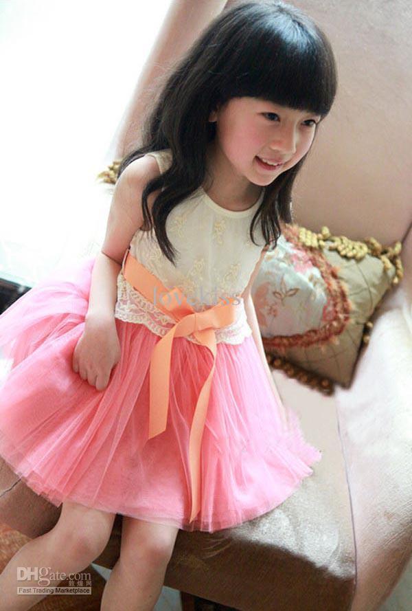 Nuevo vestido de chaleco con lazo de gasa de encaje bordado para niñas Vestidos de baile de niña Vestido de princesa de verano