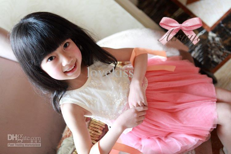 Nuevas muchachas bordadas de encaje de gasa arco chaleco vestidos vestidos de niña vestidos de baile vestido de princesa verano