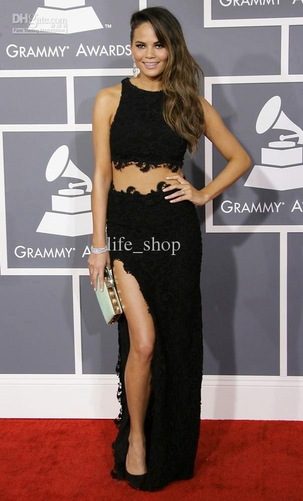 2013 Grammy Awards Red Carpet Pageant Abiti Chrissy Teigen Due pezzi Set fessura Abiti di pizzo nero