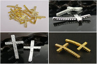 Rhinestone laterais Cross Connector 24x48mm ouro prata 2 cores