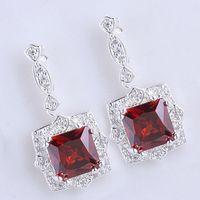 Wholesale Womens Sterling Silver Earrings - Womens 9x9 Square Stone Red Garnet Shining Dangle .925 Sterling Silver Earrings NAL E029