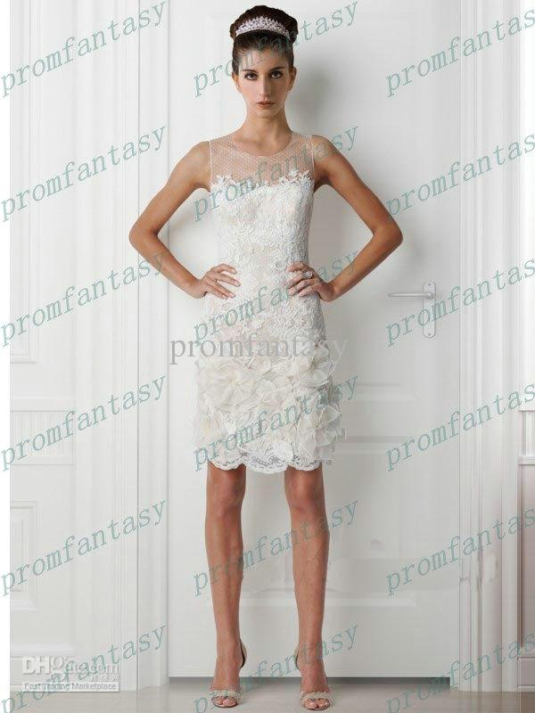 2017 short sheath sexy white lace bridal gowns sheer jewel neck 2017 short sheath sexy white lace bridal gowns sheer jewel neck floral summer beach wedding dresses junglespirit Images