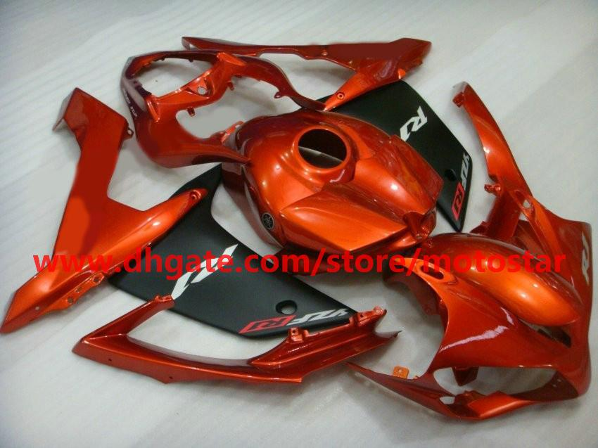 orange flat black moto fairing for YAMAHA 2007 2008 YZF-R1 07 08 YZFR1 YZF R1 fairings kit R17A
