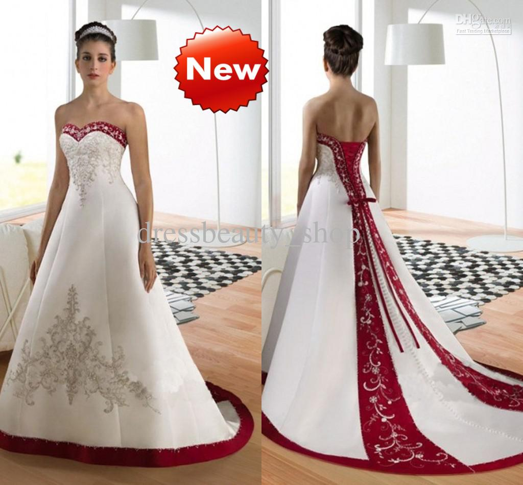 Red And White Wedding Dresses: Discount Sweetheart Luxury Embroidery A Line Wedding