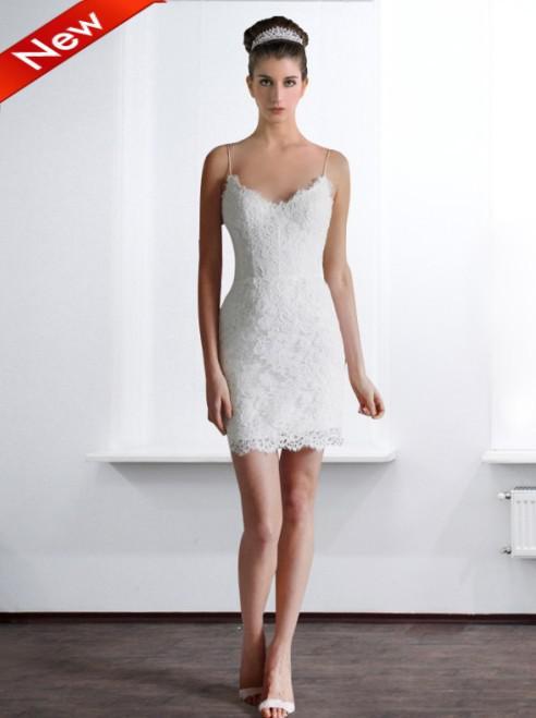 Spaghetti Short Sommer-Spitze-Hochzeits-Kleider Einfache elegante weiße  Braut Strand Rezeption Garten Hot