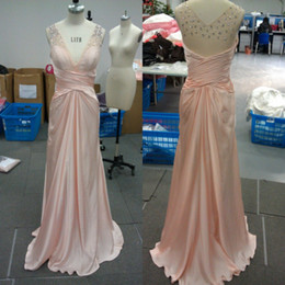 Wholesale Satin Ruffle Baby Dress - Cheap Customize Baby Pink V-neck Crytals Elastic Satin A-line Formal Evening Dress Prom Gown 2013