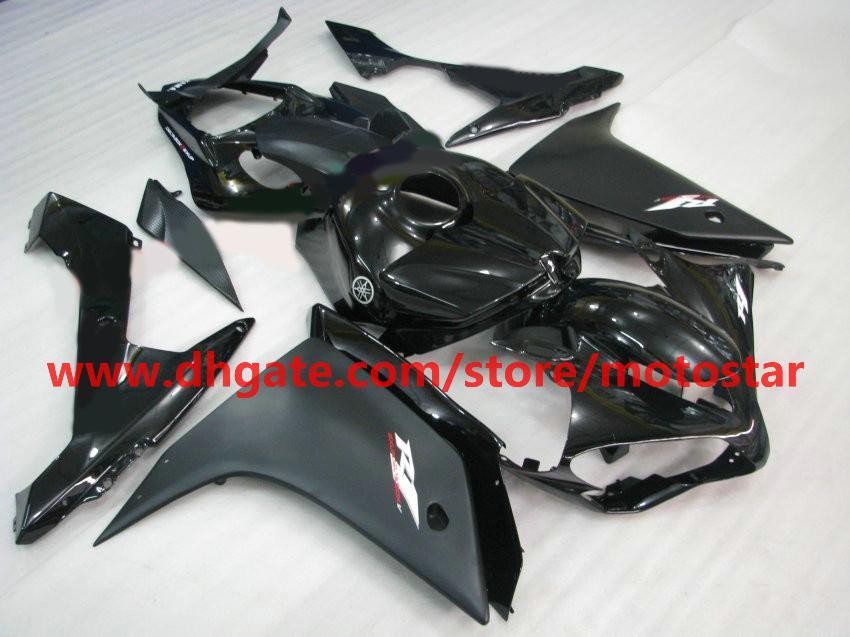Flat Black White Moto Fairing för Yamaha 2007 2008 YZF-R1 07 08 YZFR1 YZF R1 Fairings Kit R17J