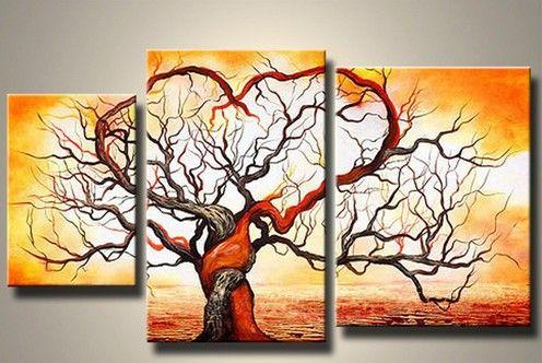 2019 popular tree group canvas painting morden group landscape art