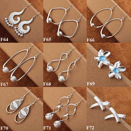 Wholesale Dangling Hoop - New Style Fashion 925 Silver Mix Styles 50pairs Dangle Womens Earrings Best Gift