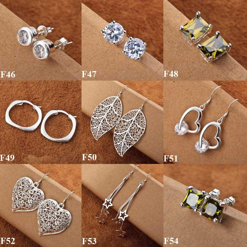 Hot Sale 925 Silver 60Pairs New Multi Styles Charms Silver Earrings Fashion Earrings Hot Sale