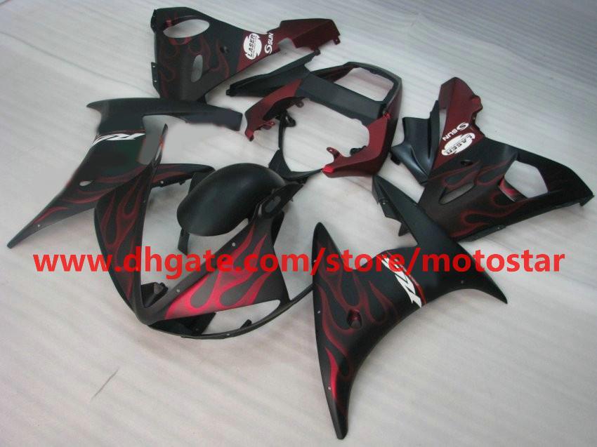Hot Salered Flame Fairing för Yamaha YZF-R6 2003 2004 YZFR6 03 04 YZF R6 YZF600 Fairings Kit R9F1