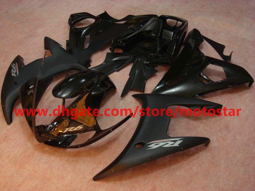 Flat Black Fashion voor Yamaha YZF-R6 2003 2004 YZFR6 03 04 YZF R6 YZF600 Backings Kit R8K4