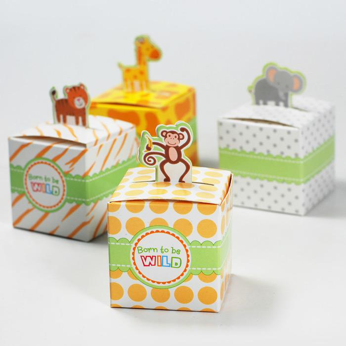 Cute Animal Candy Box Born To Be WILD Wedding Favors Baby Birthday Gift Boxes Monkey Giraffe For Gifts From Beauties Factory