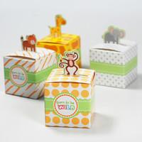 Wholesale Giraffe Boxes - 100 pcs Cute Animal Candy Box Born to be WILD Wedding Favors Baby Birthday Gift Boxes Monkey Giraffe