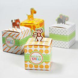 Wholesale Cute Chinese Wedding - 100 pcs Cute Animal Candy Box Born to be WILD Wedding Favors Baby Birthday Gift Boxes Monkey Giraffe