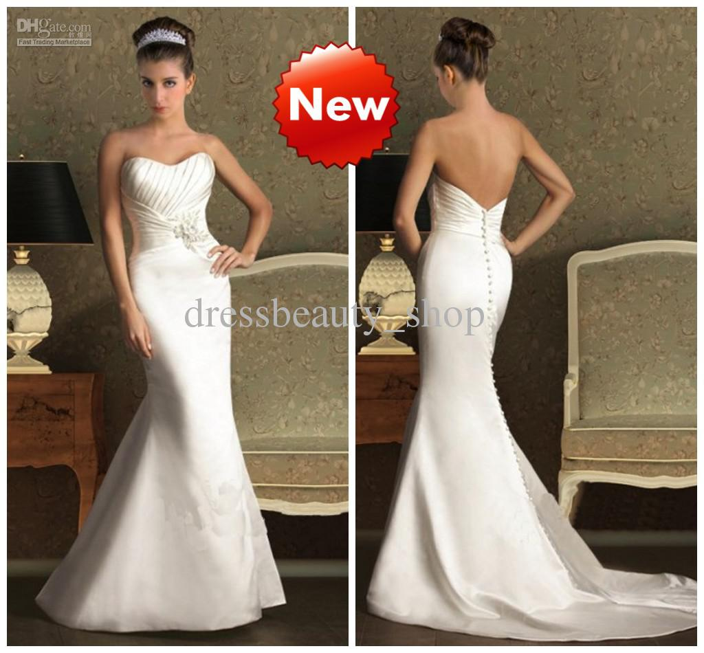 Satin Sexy Mermaid Wedding Dresses 2013 Simple Ruched Bustier Chapel ...