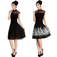 Wholesale Chiffon Cheongsam Wedding Dress - 2015 women's dress fashion improved lace cheongsam cheongsam dress wedding dress M,L,XL.XXL.XXXL