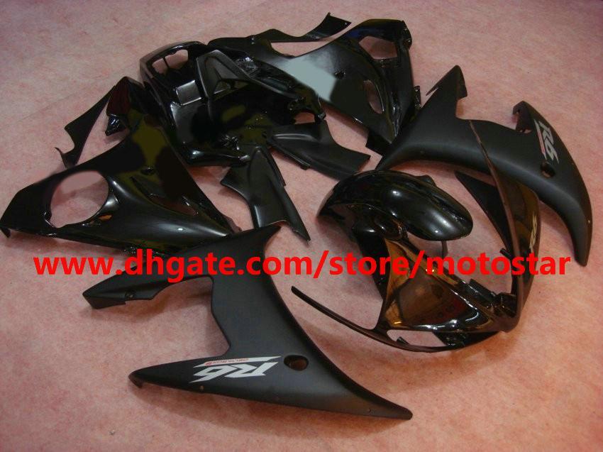 Flat Glossy Black High Grad Fairing för 2005 Yamaha YZF-R6 YZFR6 05 YZF R6 Bodywork Fairings Kit B8a