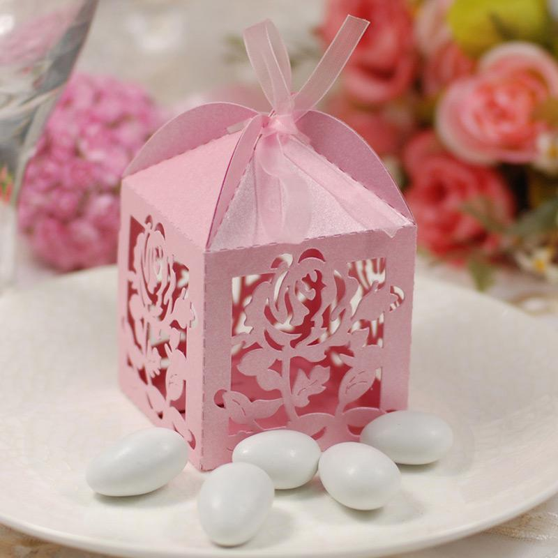 Elegant Wedding Gift Ideas: Romantic Rose Candy Boxes Pink Hollow Elegant Wedding