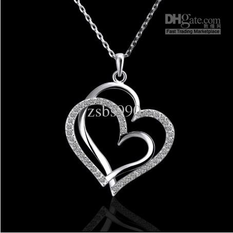 Wholesale plated 18k platinum inlaid czech diamond double heart wholesale plated 18k platinum inlaid czech diamond double heart pendant necklace fashion gifts jewelry rose gold necklace opal necklace from zsbs990 mozeypictures Choice Image