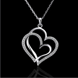 Wholesale Double Heart Necklace Diamond - Plated 18K platinum inlaid Czech Diamond Double Heart Pendant Necklace fashion gifts jewelry 10pcs