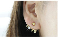 Wholesale Pair Crystal Stud Earrings - Crystal Love Letter Heart Ear Cuff Stud Earring Hot New Korea Style Fashion Gold Metal 28 pairs lot 50