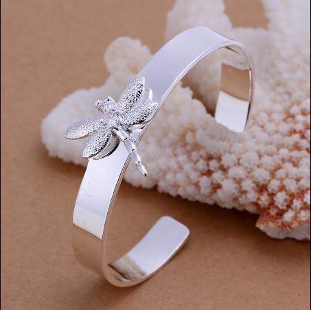 Alta qualidade banhado a prata esterlina 925 embutidos Zircon Libélula pulseira moda pulseira 10 pçs / lote