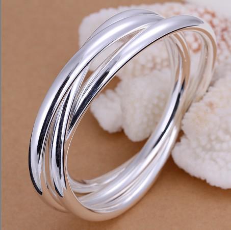 La haute qualité plaqué en argent sterling 925 trois fois bracelets livraison gratuite /
